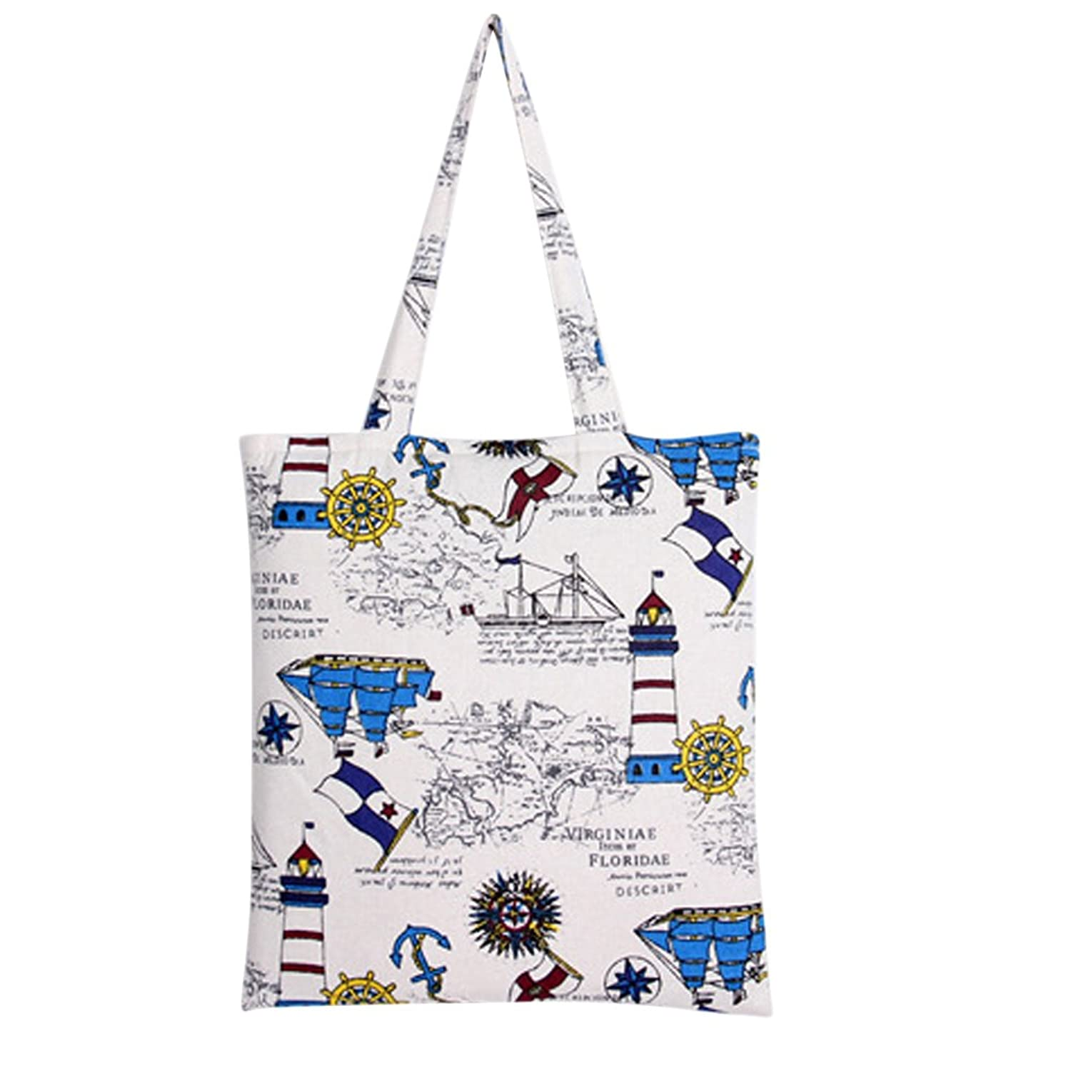 Caixia Women's Blue Lighthouse Canvas Tote Shopping Bag Beige