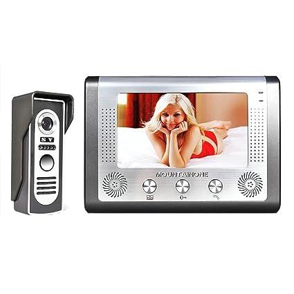 MOUNTAINONE 7 Inch Video Door Phone Doorbell Intercom Kit 1-camera 1-monitor Night