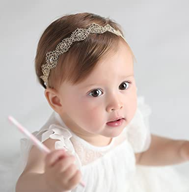 cca9d3f14 MYEDO New Baby Girls Baptism Headbands Infant Toddler Christening Headbands  Headdress Head Piece: Amazon.in: Clothing & Accessories