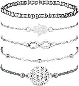 Jbniuay Juego de 5 Pulseras de Plata para Mujer, con símbolo de Infinito, Pulsera de Bolas, Pulsera de Cuerda con Adorno, Bohemias y Ajustables