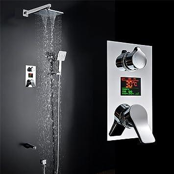 JERUI Pantalla digital baño Columna de ducha LED de pared grifo de ...