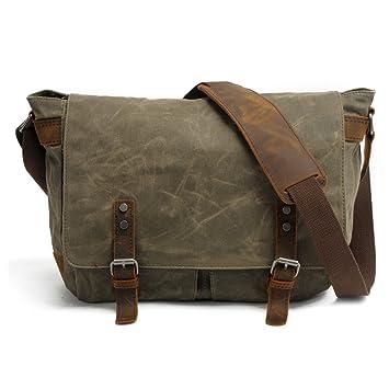 HAKGY Unisex bolsas de mensajero crossbody de viaje maletín de piel lienzo bolso bandolera para portátiles de 14 pulgadas,, color Verde militar