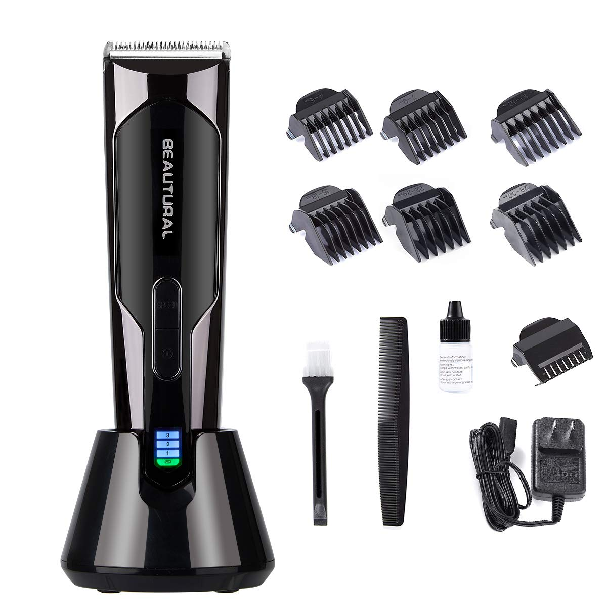 Beautural Professional Hair Clippers, Heavy Duty Cordless and Rechargeable Hair Trimmer and Hair Cutting Kit with Charging Base, 6 Guide Combs, and Comb