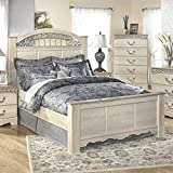 Ashley Catalina Wood Queen Panel Bed in Antique White