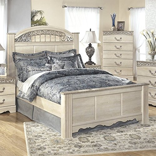 Ashley Catalina Wood Queen Panel Bed in Antique White (Antique White Bed Frame)