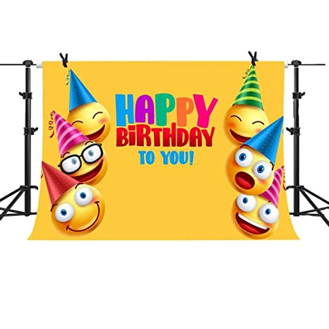Amazon MME 10x7Ft Emoji Expression Backdrop Happy Birthday Day Yellow Background Party Cartoon Funny Children Props Vinyl Photography Video GEME127