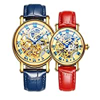 Binger Couple Watches Mechanical Skeleton Gold Dial Stainless Steel Leather band for His or Her (Blue Red)