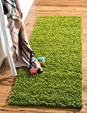 Unique Loom Solid Shag Collection Grass Green 2 x 6 Runner Area Rug (2' 2'...