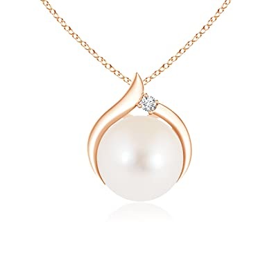 Angara Freshwater Cultured Pearl Wishbone Pendant with Diamond qlfCfpkND