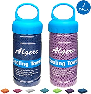 """Cooling Towel 2020 Upgraded- 47""""14"""" Large Instant Sports Towel Chill Feeling Golf Towel Relief, Super Soft and Breathable Yoga Towel with Special Jars Container Cooling Scarf Headband Wristband"""