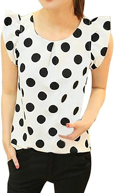 FAMILIZO_Camisetas Mujer Verano Blusa Mujer Elegante Camisetas Mujer Manga Corta Lunares Camiseta Mujer Camisetas Mujer Fiesta Camisetas Sin Hombros Mujer Camisetas Mujer Tallas Grandes: Amazon.es: Ropa y accesorios