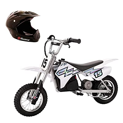 Razor MX400 Dirt Rocket Ride On 24V Electric Toy Motocross Motorcycle Dirt Bike, Speeds up to 14 MPH Includes a Helmet, White: Toys & Games [5Bkhe0501551]