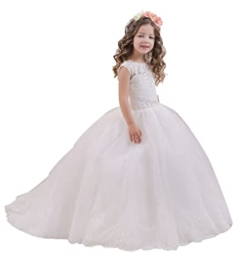 Princhar Lace Tulle Flower Girl Dress Little Wedding Dresses US 6M Ivory