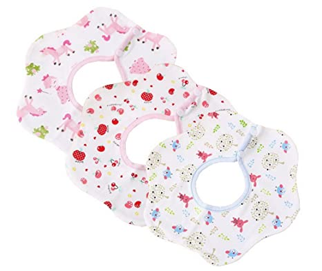 lelestar 3pcs bebé Saliva Toalla Triangular toalla 100% algodón bebé babero doble prensa hebilla recién