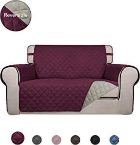 PureFit Reversible Quilted Sofa Cover, Water Resistant Slipcover Furniture Protector, Washable Couch Cover with Anti-Slip Foam and Elastic Straps for Kids, Dogs, Pets (Loveseat, Wine/Beige)