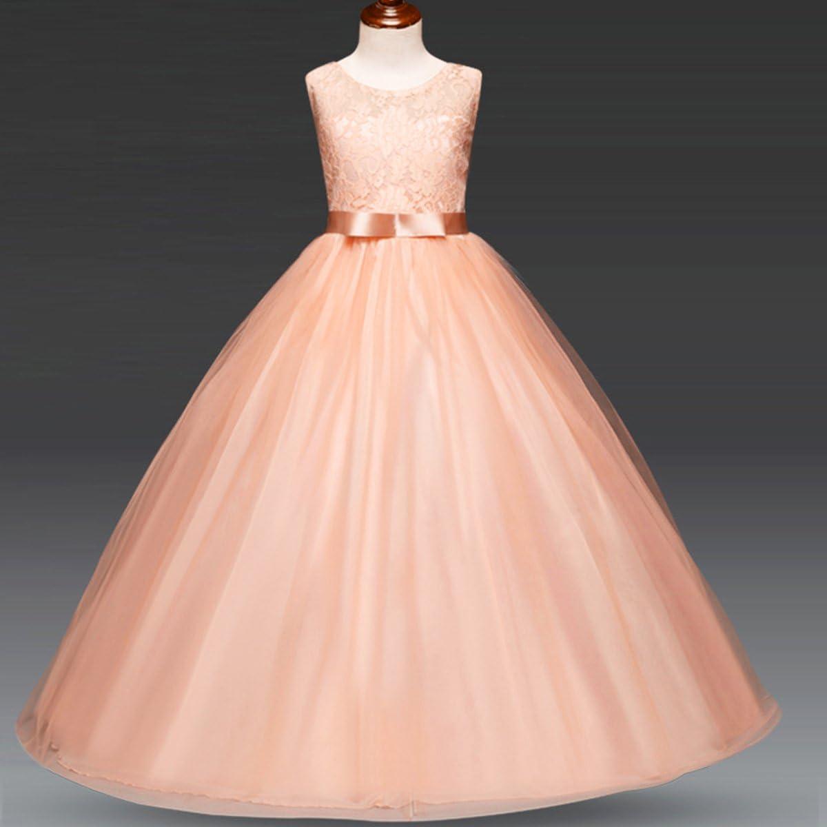 IMEKIS Vestito Elegante da Ragazza Festa Matrimonio Damigella Principessa Senza Maniche Pizzo Tulle Sere Abiti Compleanno Battesimo Cerimonia Lunga Abito da Ballo 4-13 Anni