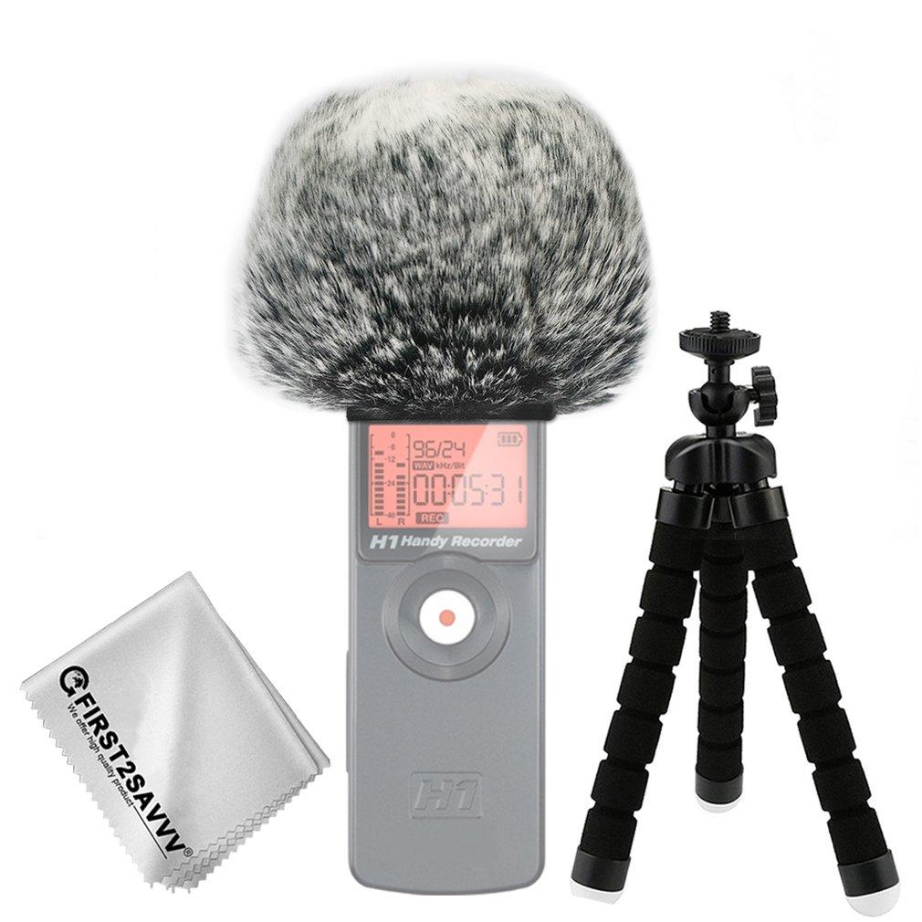 First2savvv nero Microfono Parabrezza Copertura Antivento Shell Cuffia Antivento in Pelliccia Sintetica per Microfoni a Fucile per Zoom H2n con pezza per pulire + Mini treppiede TM-DM-H2N-F01TZ3 dtfgf001