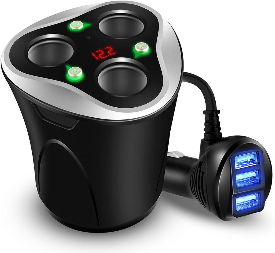 Cargador de Coche 3 USB Adaptador + 3 Sockets Encendedor de Cigarrillos Splitter 120W 12/24V con LED Voltaje Display Separado on/Off Interruptor Sostenedor de Taza para iPhone GPS & Dash CAM