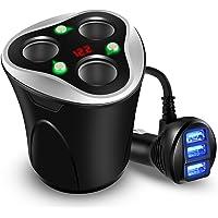 KFZ Zigarettenanzünder Verteiler 3 Fach Auto Ladegerät Adapter mit 3 USB Ports 12/24V 120W DC Power Getrennte Schalter LED Display für handy iPhone Samsung GPS Autokamera Bluetooth Geräte
