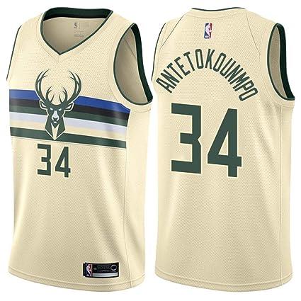 f7dd26305 Jordan Men s 2017-18 Milwaukee Bucks  34 Giannis Antetokounmpo City Edition  Beige NBA Swingman