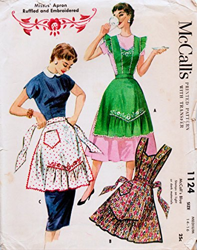 McCall's 1124 Vintage Sewing Pattern, Misses' Apron Ruffled and Embroidered Transfer Included, Check listing for Size