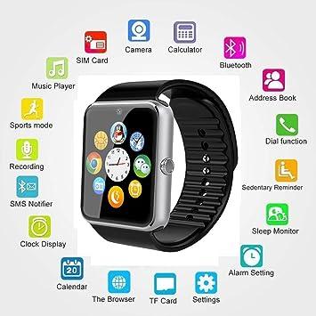 Reloj inteligente Bluetooth con ranura para tarjeta SIM y TF y NFC, podómetro reloj de