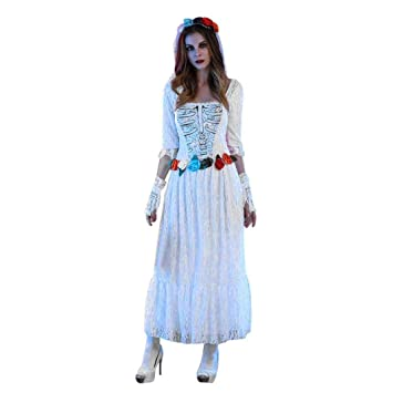 21e9a305c janly® Halloween vestido de encaje blanco cadáver sin tirantes largo  vestidos + velo + guantes para mujer diseño Cosplay fiesta disfraz