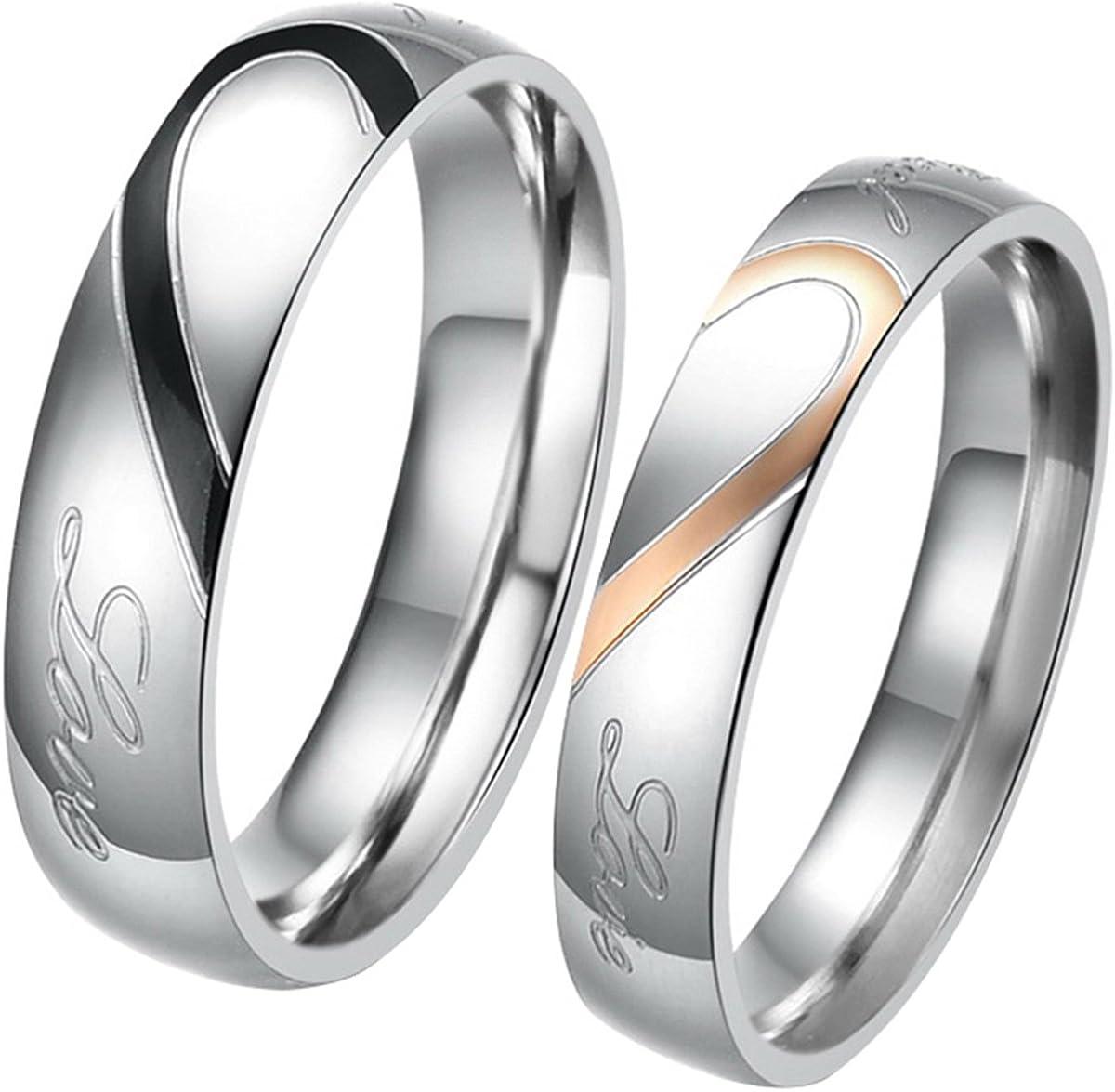 JewelryWe - Par de alianzas de Boda Originales Acero Inoxidable corazón. Dorado, Negro, Plateado. Incluye Bolsa de Regalo