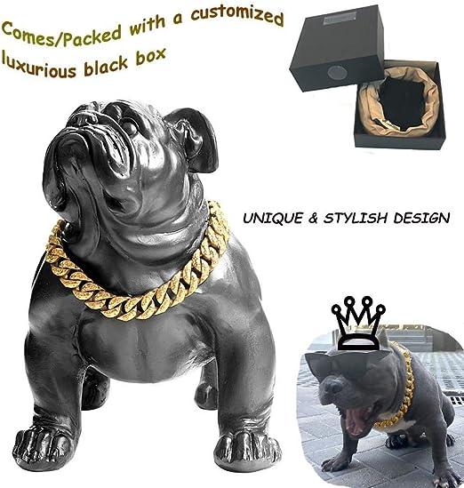 Goldenes Hundehalsband Hund Goldkette Kragen Wide Tone Double Curb kubanischen Rombo Link 316l Edelstahl Gro/ßhandel Haustier Schmuck