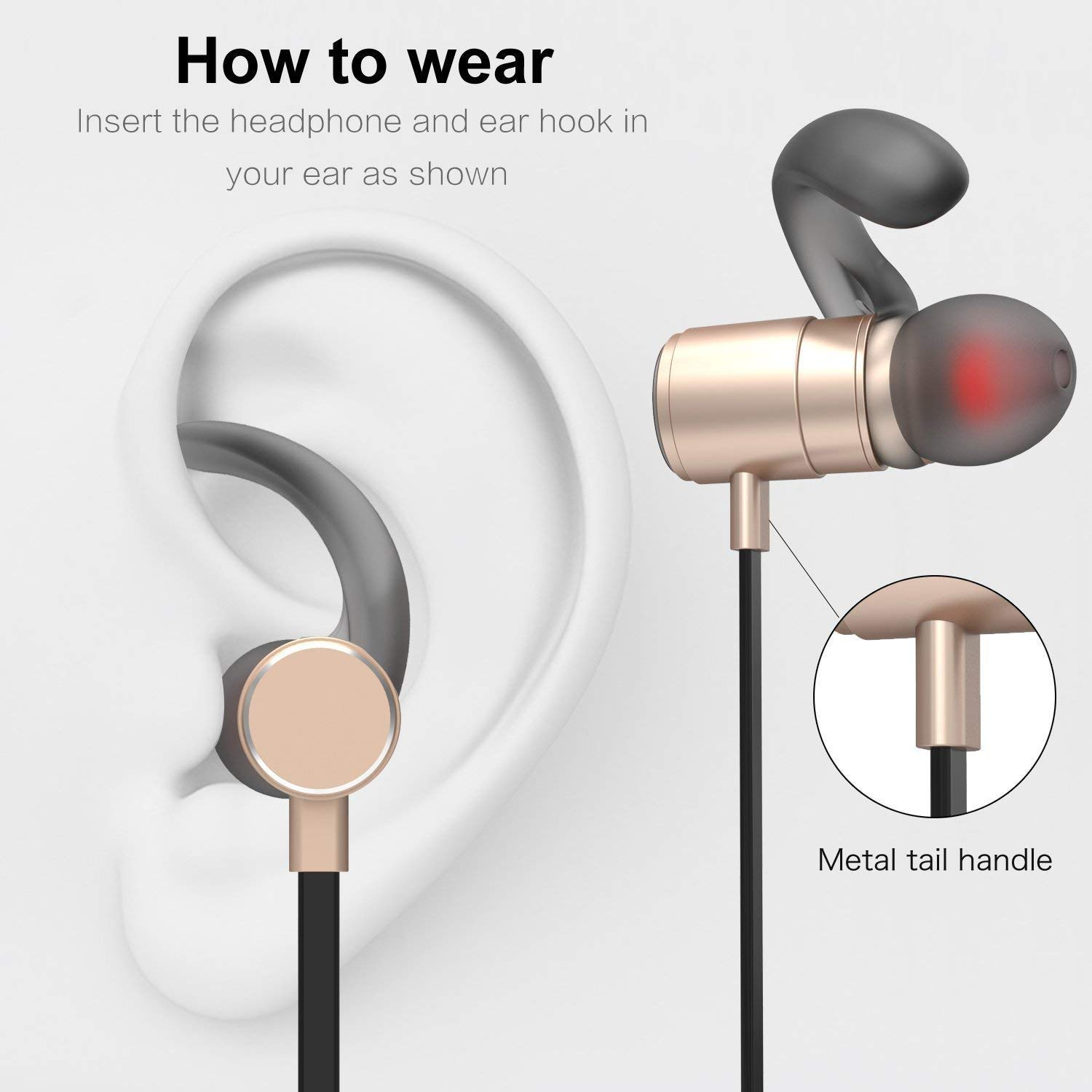 V4.2 Wireless Magnetic Sports with Microphone Bluetooth Earphone ...