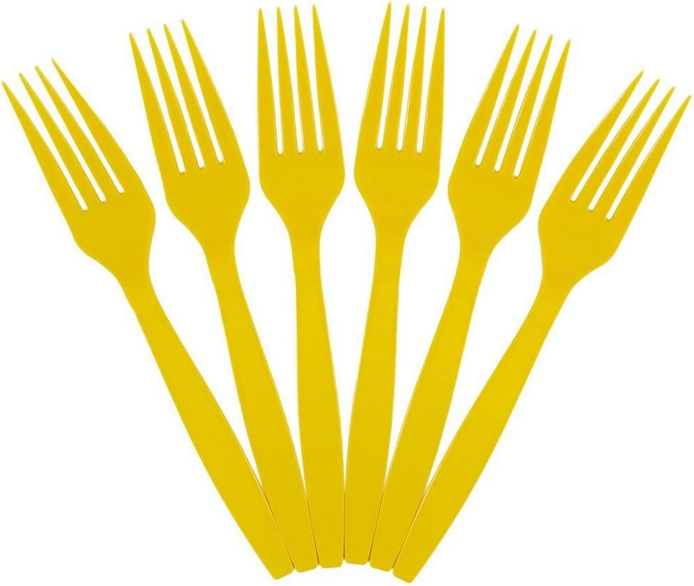 JAM PAPER Big Party Pack of Premium Plastic Forks - Yellow - 100 Disposable Forks/Box