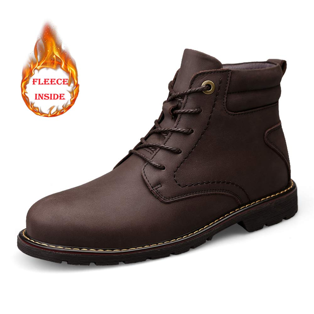Hilotu Men's Fashion Boots Casual Cowhide High-top Outdoor Outsole Chukka Boots(Warm Velvet Optional) Anti-Slip (Color : Warm Brown, Size : 9 D(M) US)