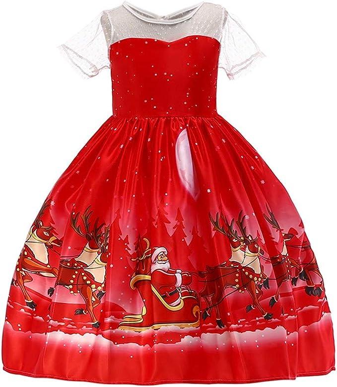 Vestiti Eleganti Bimba 7 Anni.Vestiti Bambina Eleganti Abiti Natalizi Maniche Corte Pizzo Natale