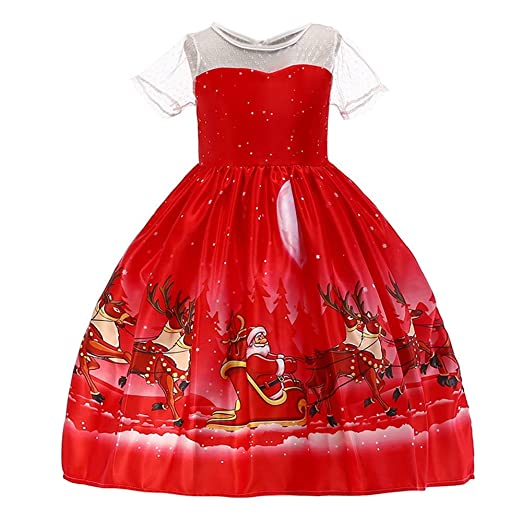 Forthery Clearance Christmas Dress Girls Santa Elegant Lace Princess Party  Dress