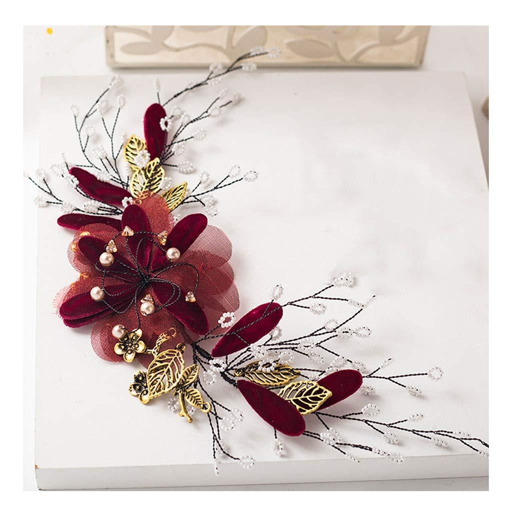 Wreath Flower Bride Headdress Wine Red Head Flower Necklace Dinner Wedding Toast Dress Hair Accessories (Color : A)