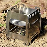 Lixada Camping Stove, Portable Stainless Steel Lightweight Folding Wood Stove Pocket Alcohol Stove Outdoor Camping Cooking Backpacking …