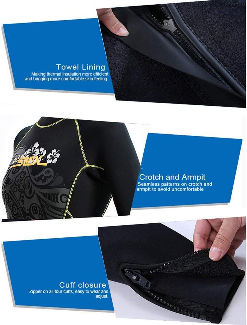 Super Stretch-Perfect per la Spiaggia e sotto Una Muta Tuta Intera da Donna 5mm in Neoprene Termica//Calda Tuta da Sub Manica Lunga in neoprene-UPF50 Protezione Solare Anti-UV Nuoto