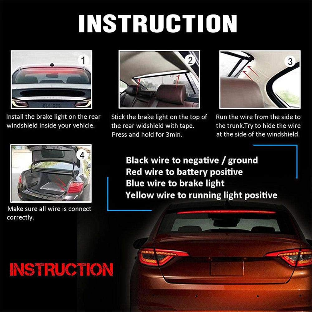 YOUNGFLY 144 LED 39inch Red Tail Brake Stop Light Roofline Sign Light High Brake Rear Kit Rear Strip