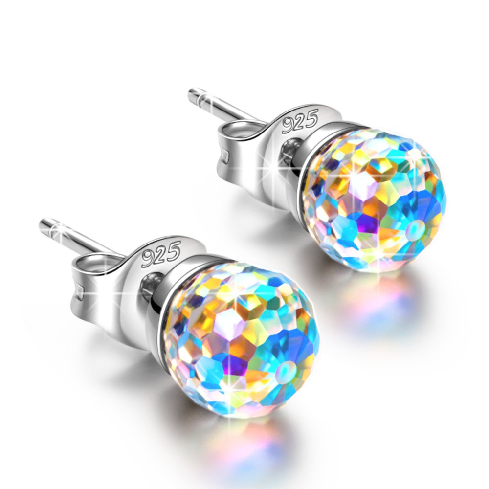 NINASUN Earrings for Women Gifts for Her Girl Fantastic World 925 Sterling Silver Stud Ball Earrings Swarovski Crystal Fine Jewelry for Women Birthday Gift for Teens Daughter Gifts for Wife Girlfriend
