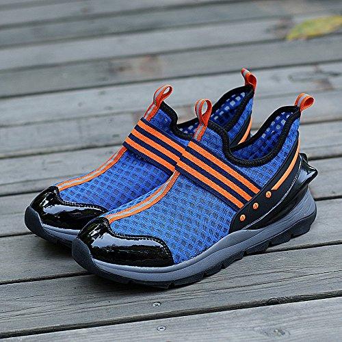 Enllerviid Heren Slip Op Casual Mode Sneakers Lichtgewicht Ademende Atletische Gym Sportschoenen 8358 Blauw