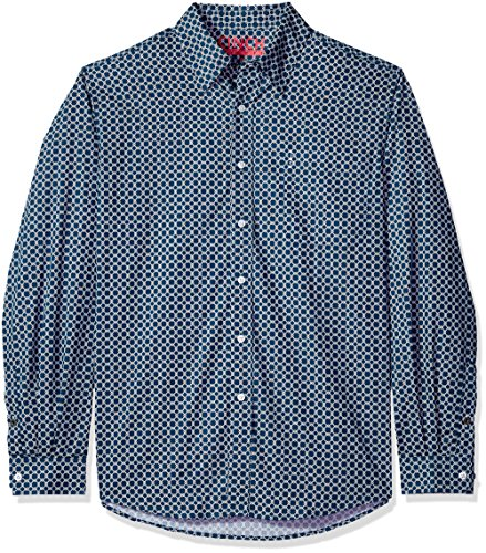 Cinch Men's Modern Fit Long Sleeve Button One Open Pocket Print Shirt, Blue/White, L (Mens Cinch)
