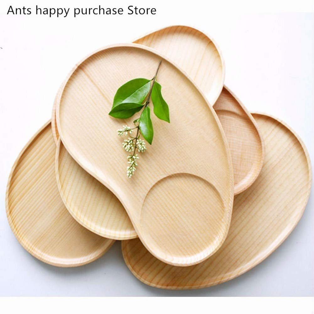 BananaShop99-25151.5cm Oak wood plate Irregular elliptical grid tray Rubberwood