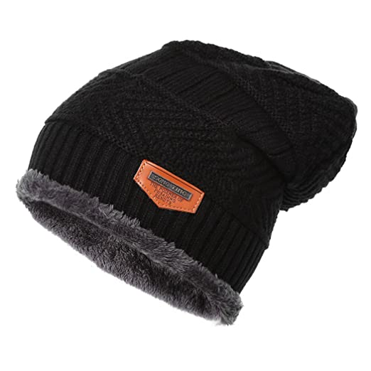 c22dc90f545 XWDA Men Soft Lined Thick Wool Knit Skull Cap Warm Winter Slouchy Beanies  Hat (Black