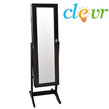 Amazoncom Clevr Black Mirrored Jewelry Cabinet Armoire Mirror