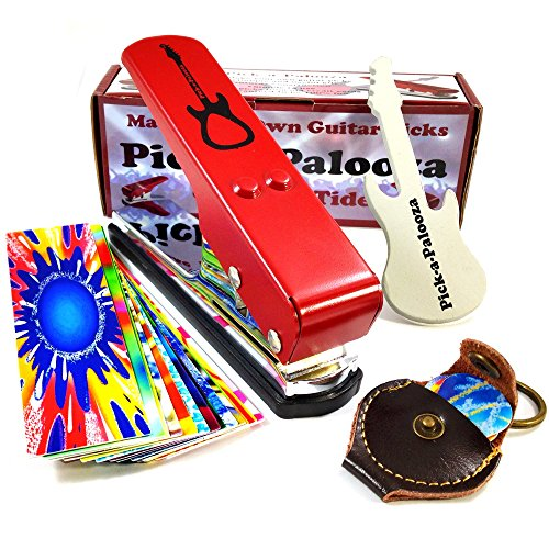 Pick-a-Palooza DIY Guitar Pick Punch Mega Gift Pack - the Premium Pick Maker - Leather Key Chain Pick Holder, 15 Pick Strips and a Guitar File - -