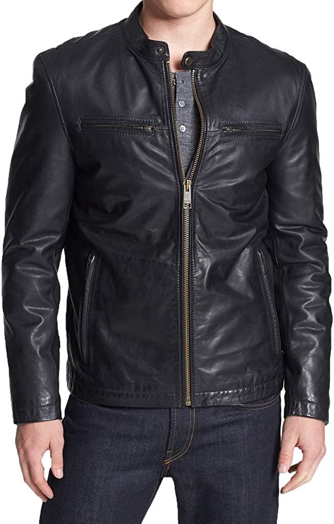 New Mens Motorcycle Leather Jacket Custom Made LF233