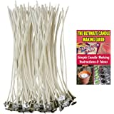 """CozYours 100% NATURAL COTTON CORE CANDLE WICKS WITH TABS FOR CANDLE MAKING, 100 PCS 6"""", LOW SMOKE, perfect for making votive, container (jars, tins) and pillar candles (candle wicks for candle making)"""