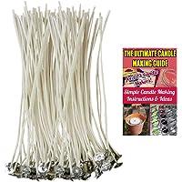 CozYours Mèches de bougie partie centrale en coton 100% naturel avec onglets pour fabrication de bougie, 100 pièces 150mm, peu de fumée, parfaite pour faire des lampions, contenant et bougies piliers
