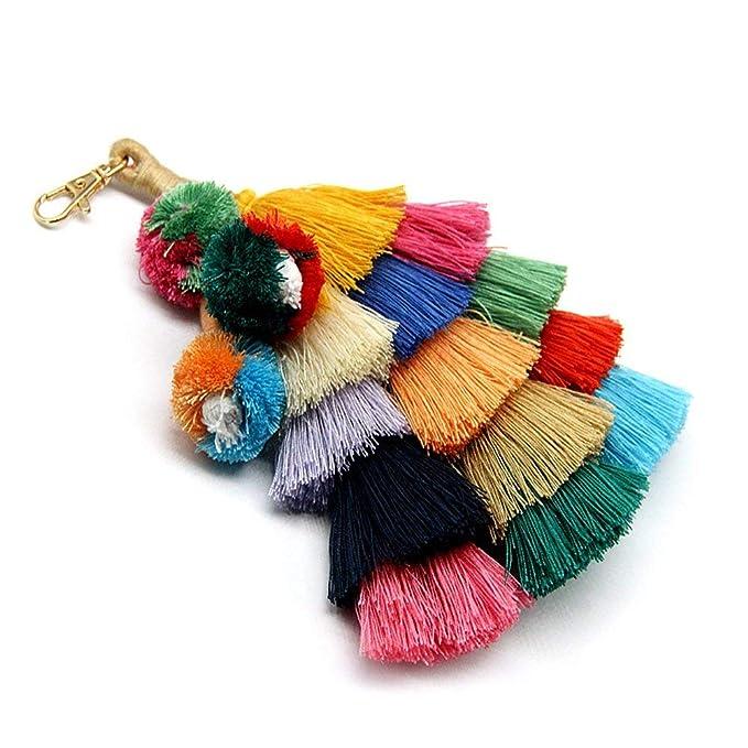 Amazon.com: Llavero de borla con pompón, colorido, bohemio ...