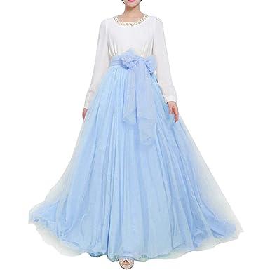 91612e4b6 Women Wedding Long Maxi Puffy Tulle Skirt Floor Length A Line with Bowknot  Belt High Waisted